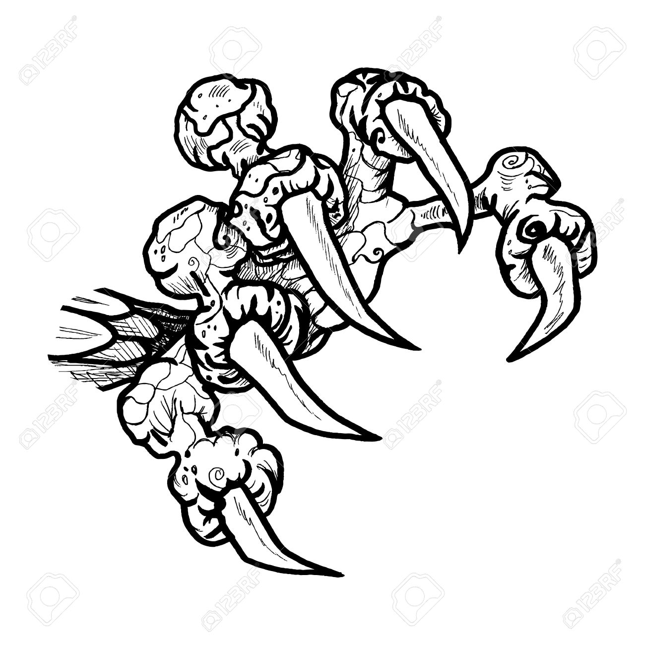 Dragon Or Monster Paw With Claws Wild Tattoo Horror Sticker