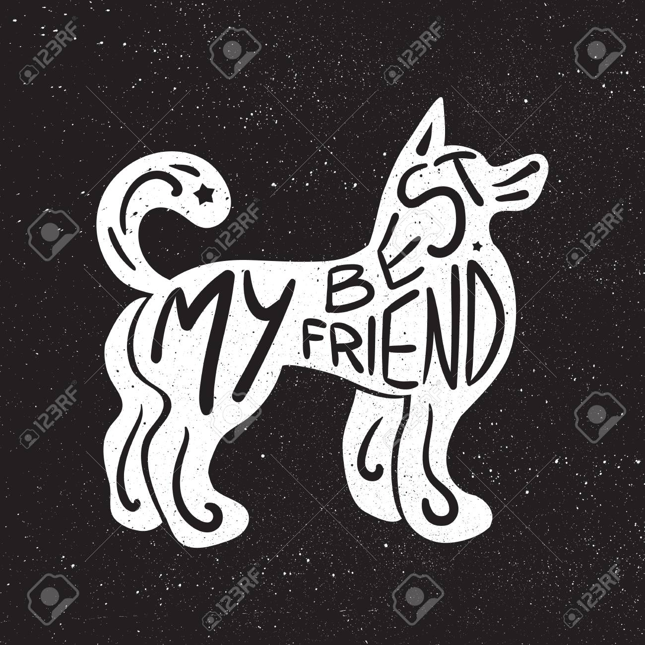 Composición Inconformista Letras Dibujado A Mano De La Vendimia Con La Frase Mi Mejor Amigo Inscrita En Silueta Del Perro Imprimir De Felicitación