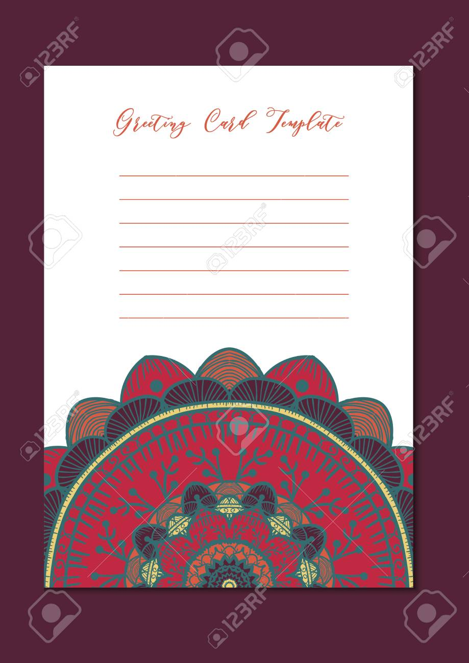 Mandala Vintage Template Card In Arabic And Indian Islam And Ottoman Turkish Asian Style For Brochure Flyer Greeting Invitation Card Cover