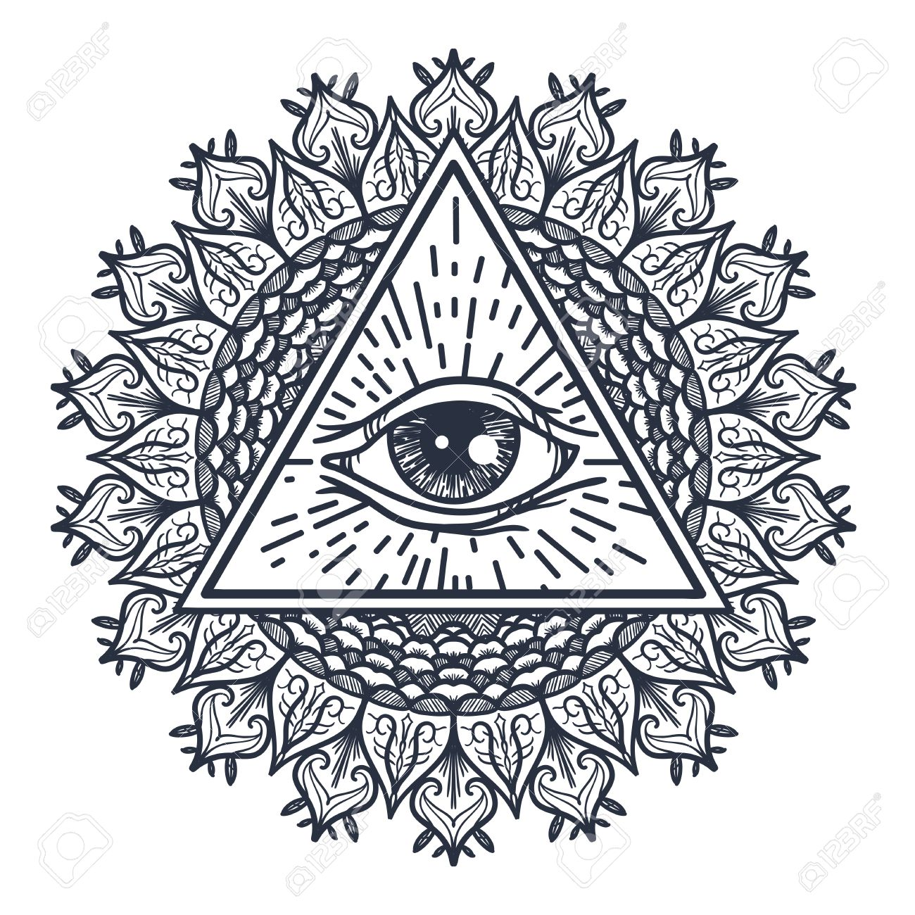 Vintage All Seeing Eye In Triangle And Mandala. Providence Magic ...