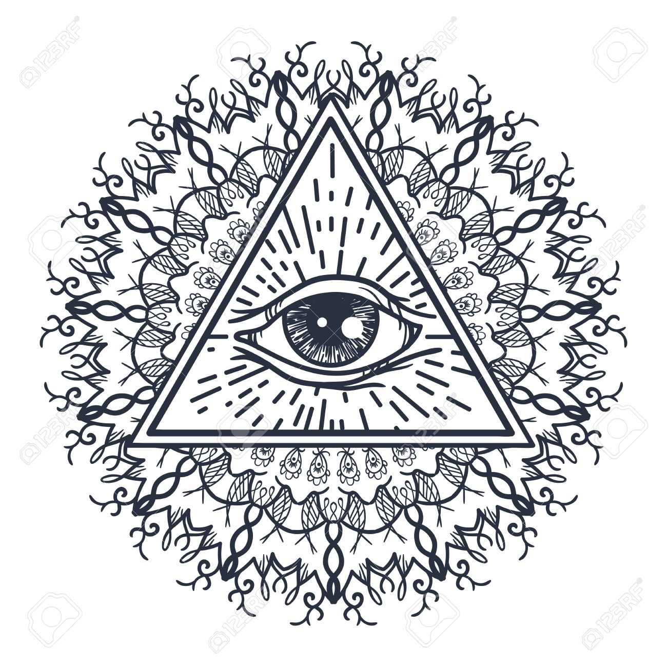 Vintage All Seeing Eye En Triángulo Y Del Mandala. Providencia ...