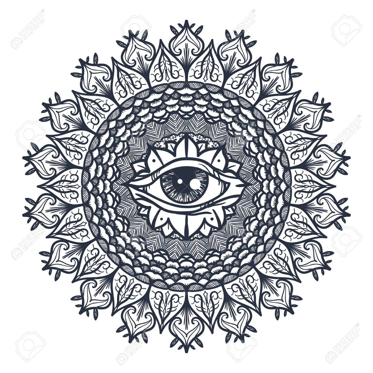 Vintage All Seeing Eye In Mandala Providence Magic Symbol For