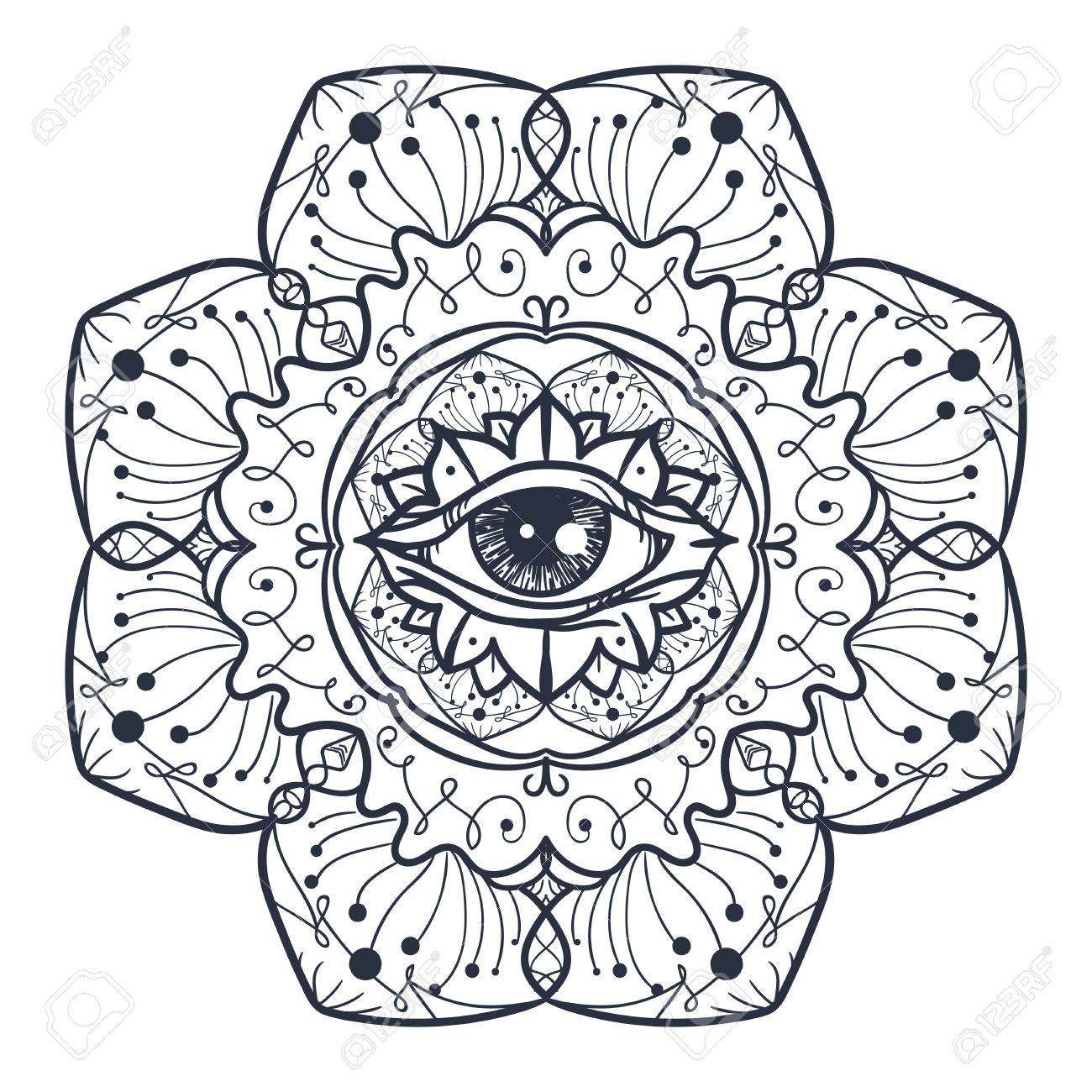Vintage All Seeing Eye En Mandala. Providencia Símbolo Mágico Para ...