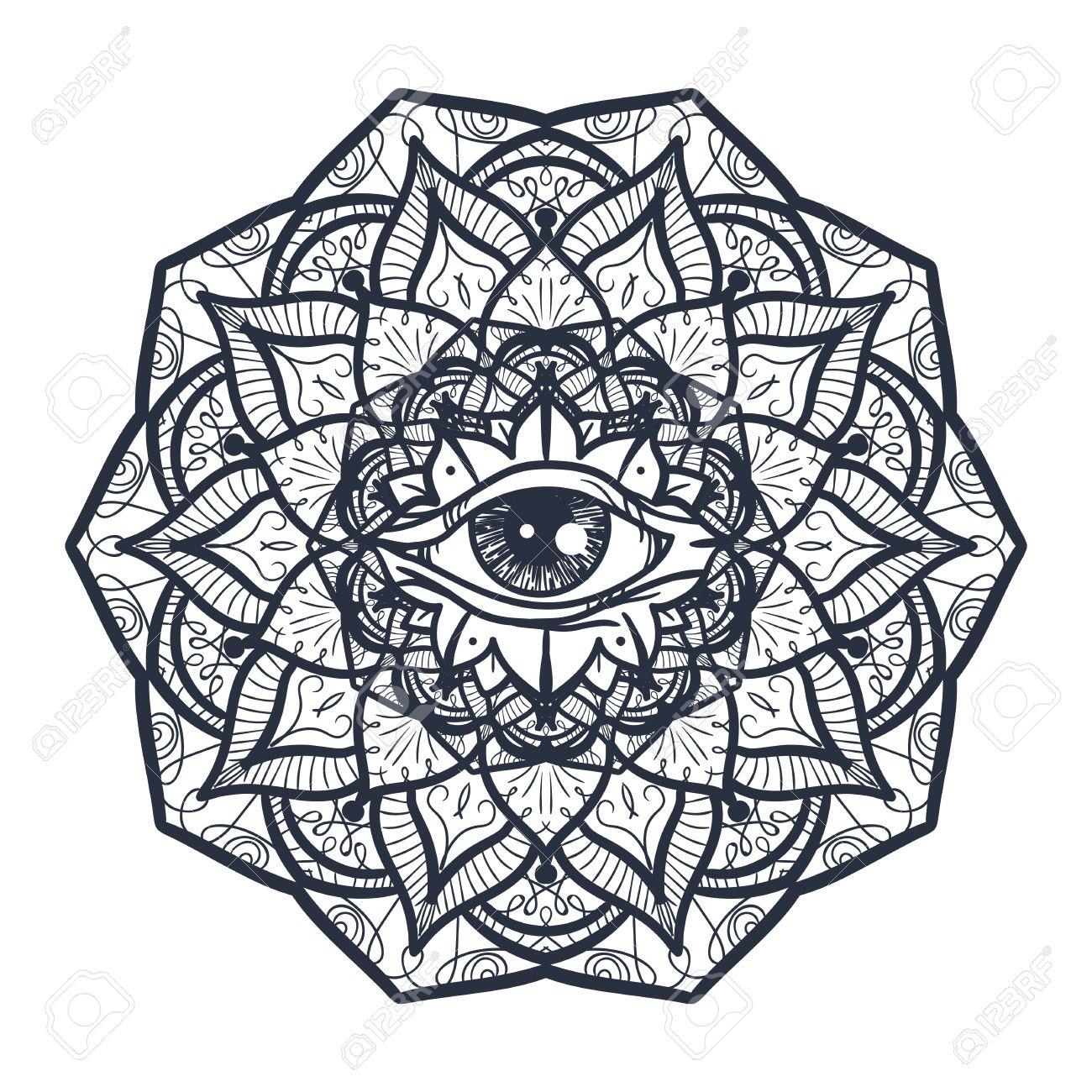 Vintage All Seeing Eye In Mandala. Providence Magic Symbol For ...
