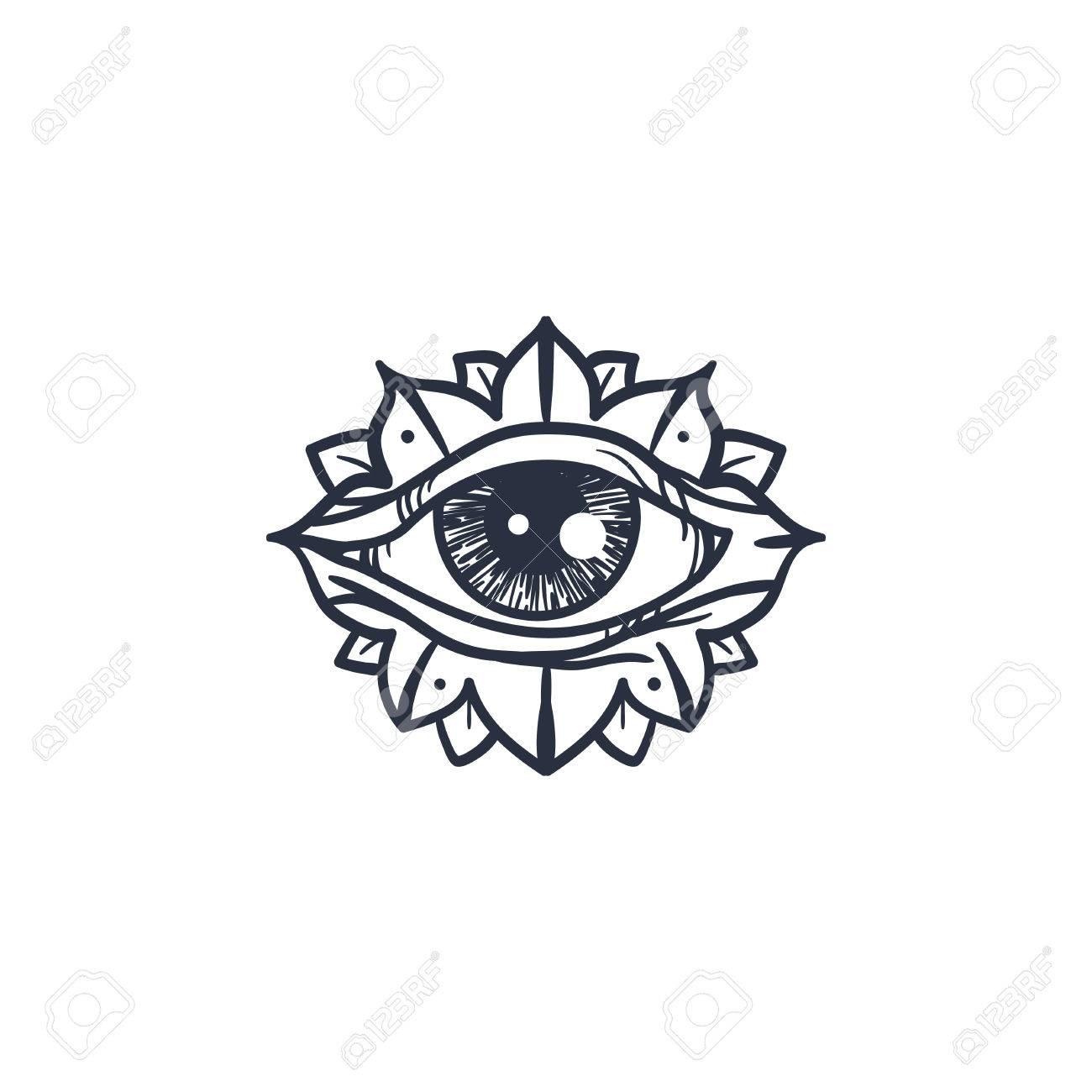 Vintage All Seeing Eye In Mandala Providence Magic Symbol For