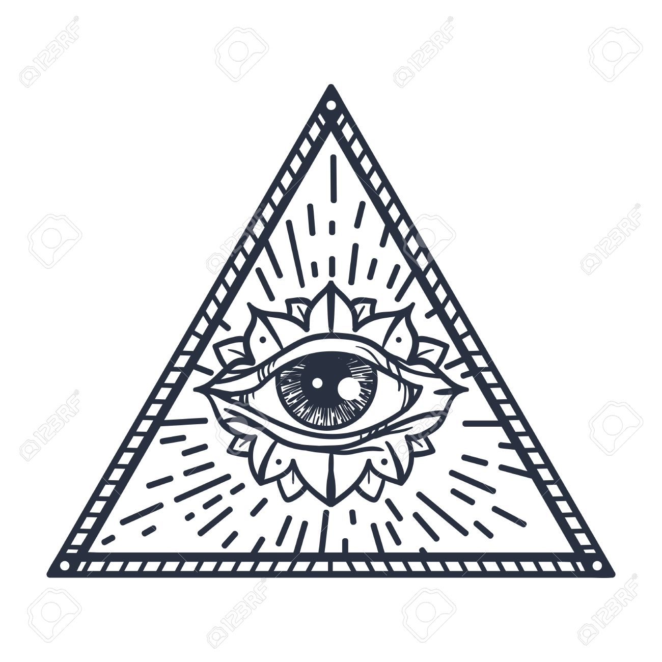 Weinlese Alles Sehende Auge In Dreieck Providence Magische Symbol