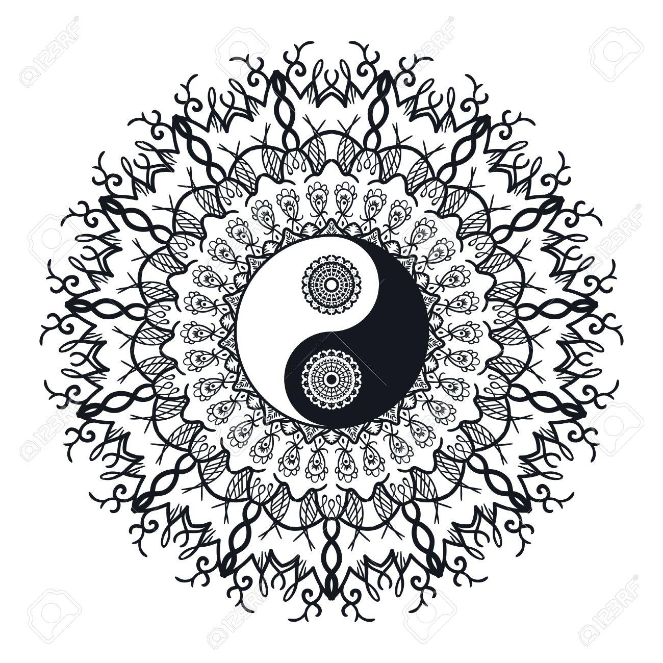 Vintage yin and yang in mandala tao symbol for print tattoo vintage yin and yang in mandala tao symbol for print tattoo coloring book buycottarizona Images