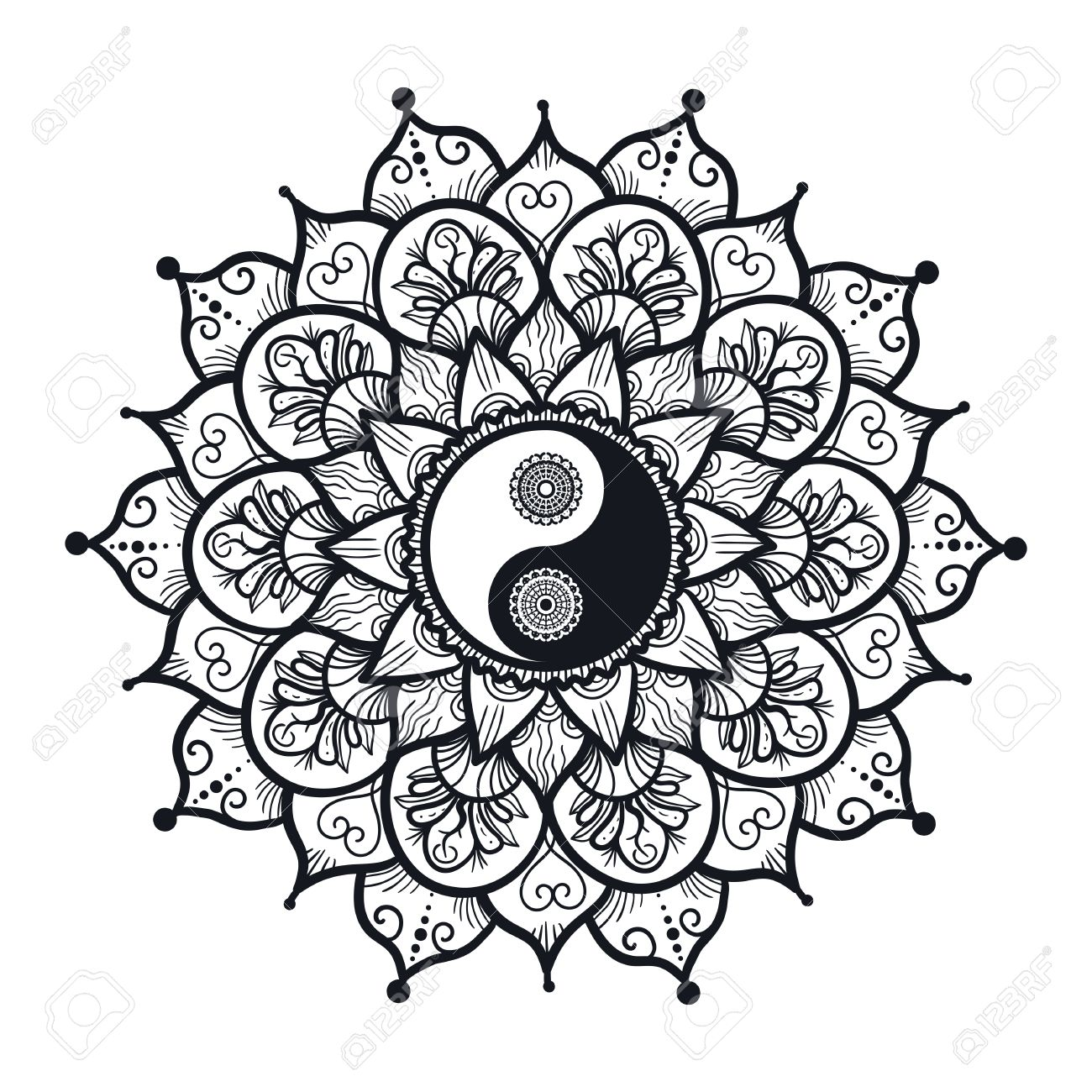 Vintage Yin And Yang In Mandala. Tao Symbol For Print, Tattoo ...