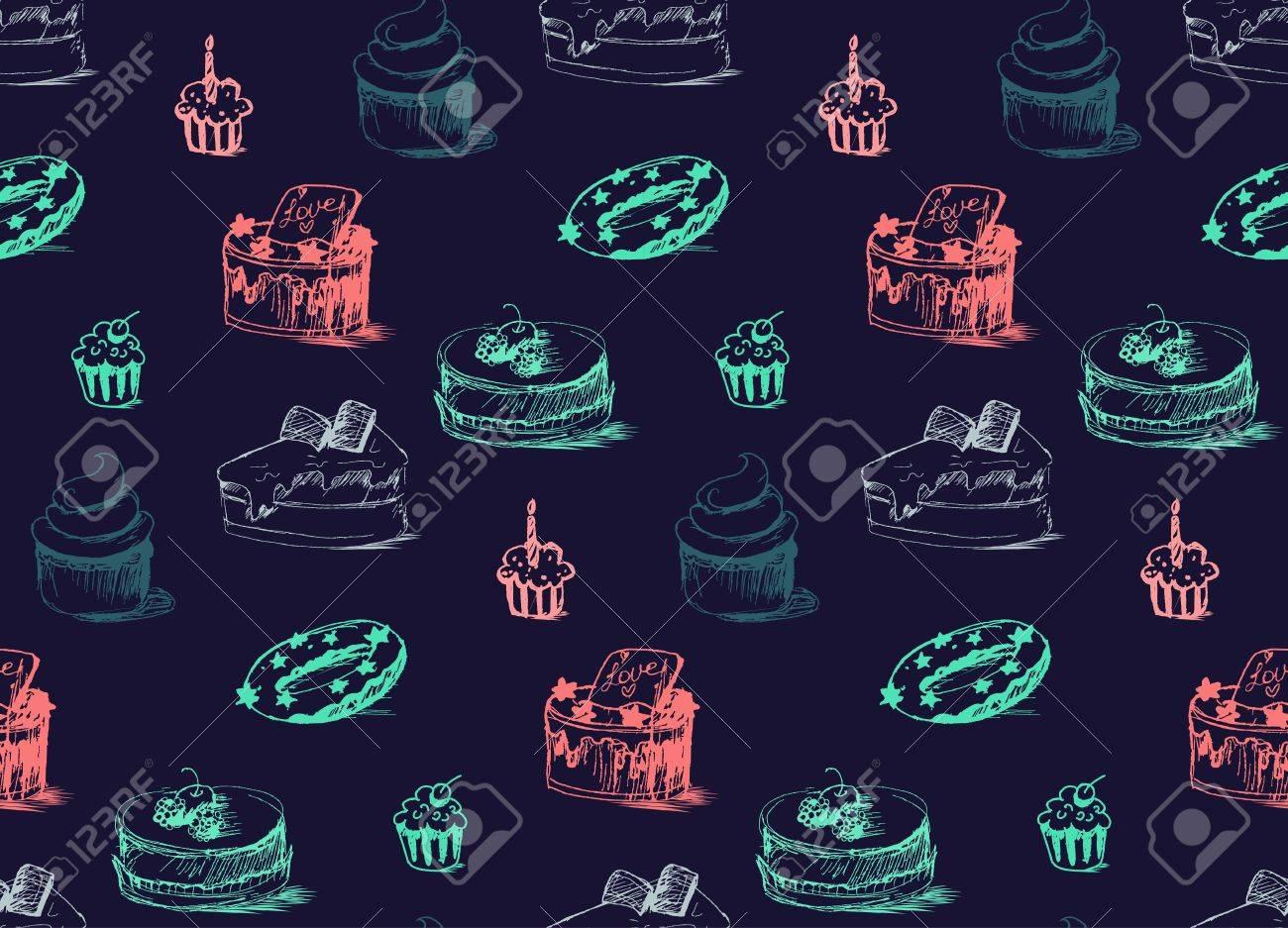 おいしいケーキのシームレスなパターン クリーム食品背景 パン屋さんのステッカーやラップ 印刷およびファブリック お菓子 甘い壁紙 ベクトルのイラスト素材 ベクタ Image
