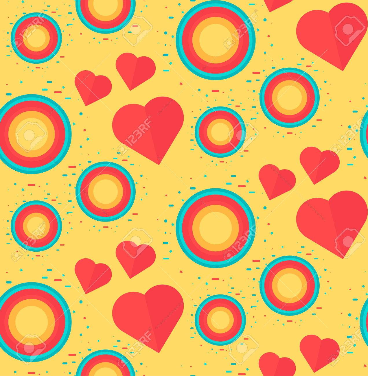 Romantic vector seamless background greeting card wallpaper vector art - Vector Vintage Seamless Romantic Pattern For Wrap Print Fabric Textile Greeting Card Ornament With Pink Or Red Heart Circle For Cloth Wallpaper