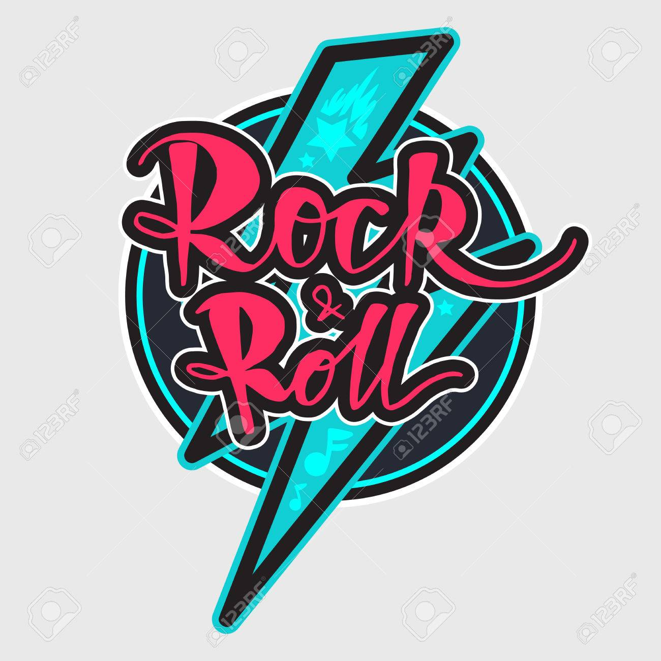 Rock And Roll Lettering For T Shirt Sticker Print Fabric Cloth