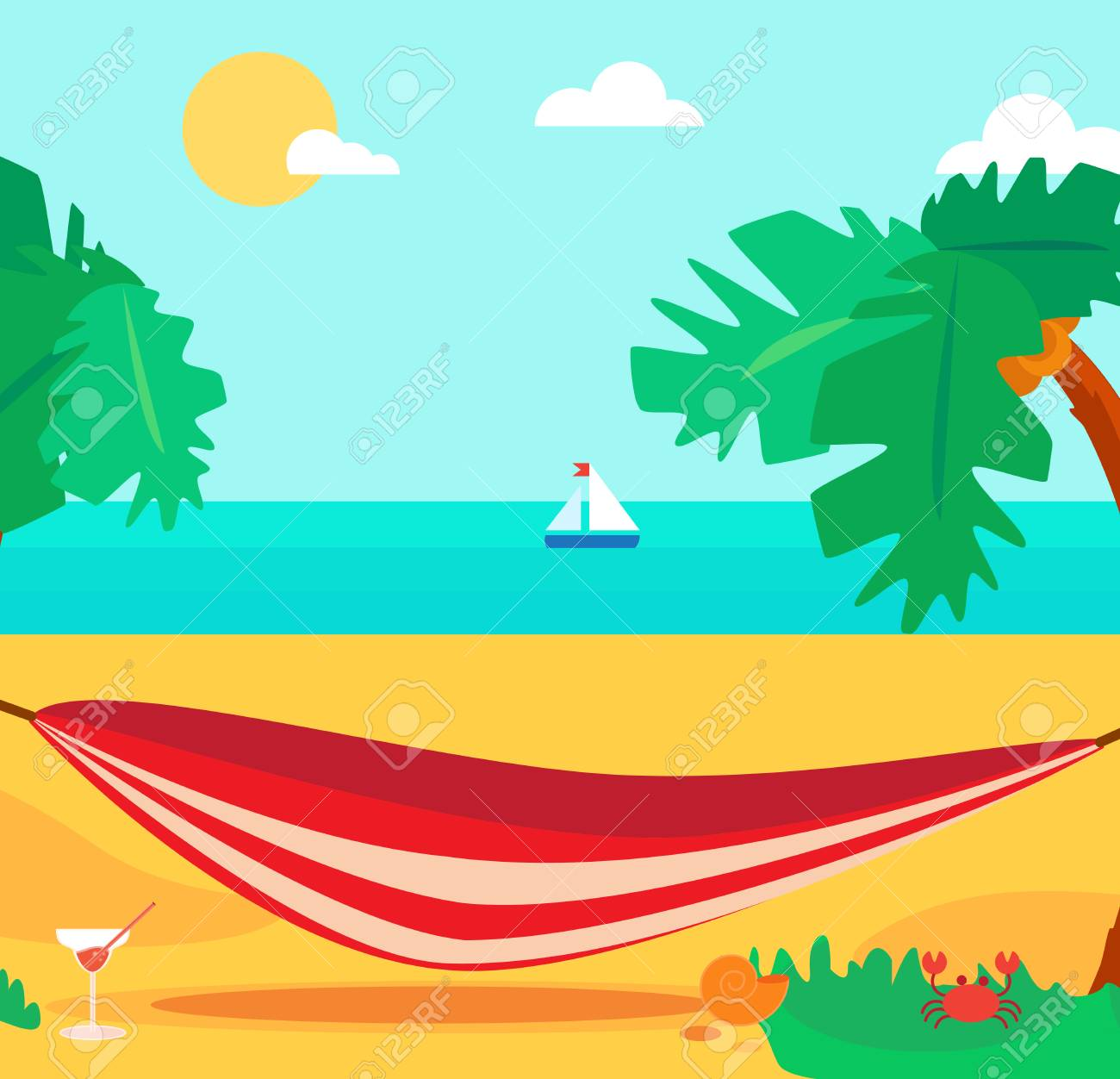 hello summer concept with hammock and cocktail on palm beach