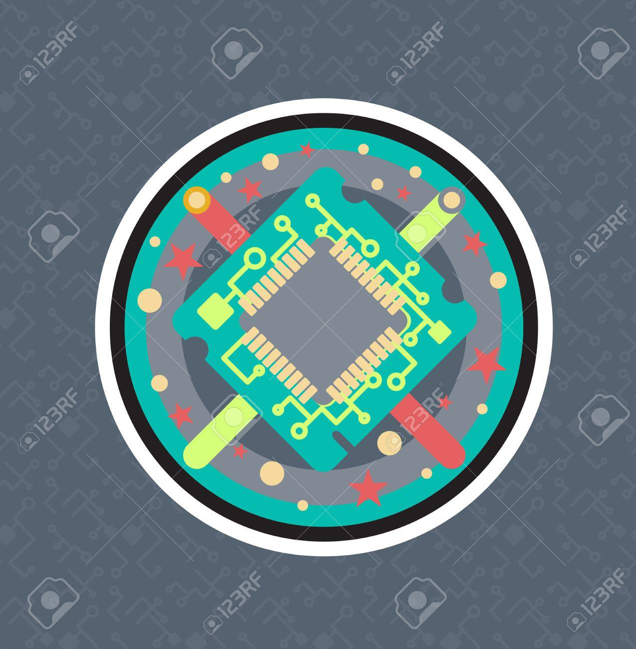 Computer Processor Chip With Cable, Wire. Symbol Of Programmer ...