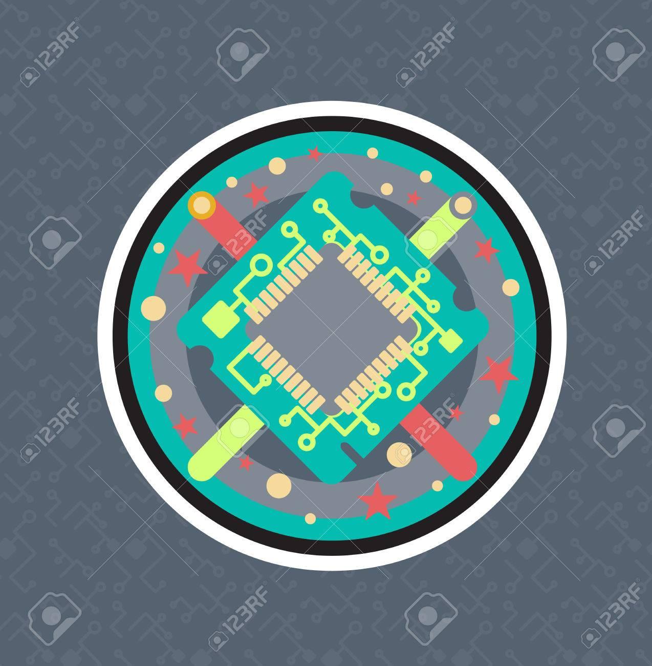 Computer-Prozessor-Chip Mit Kabel, Draht. Symbol Der Programmierer ...