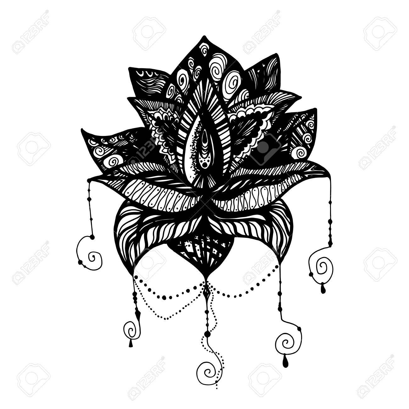 Flower Lotus Magic Symbol For Print Tattoo Coloring Bookfabric