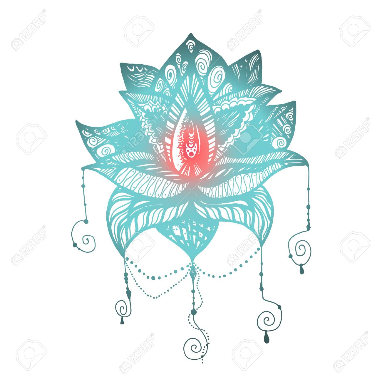Flower Lotus Magic Symbol For Print Tattoo Coloring Book Fabric Royalty Free Cliparts Vectors And Stock Illustration Image 65552199