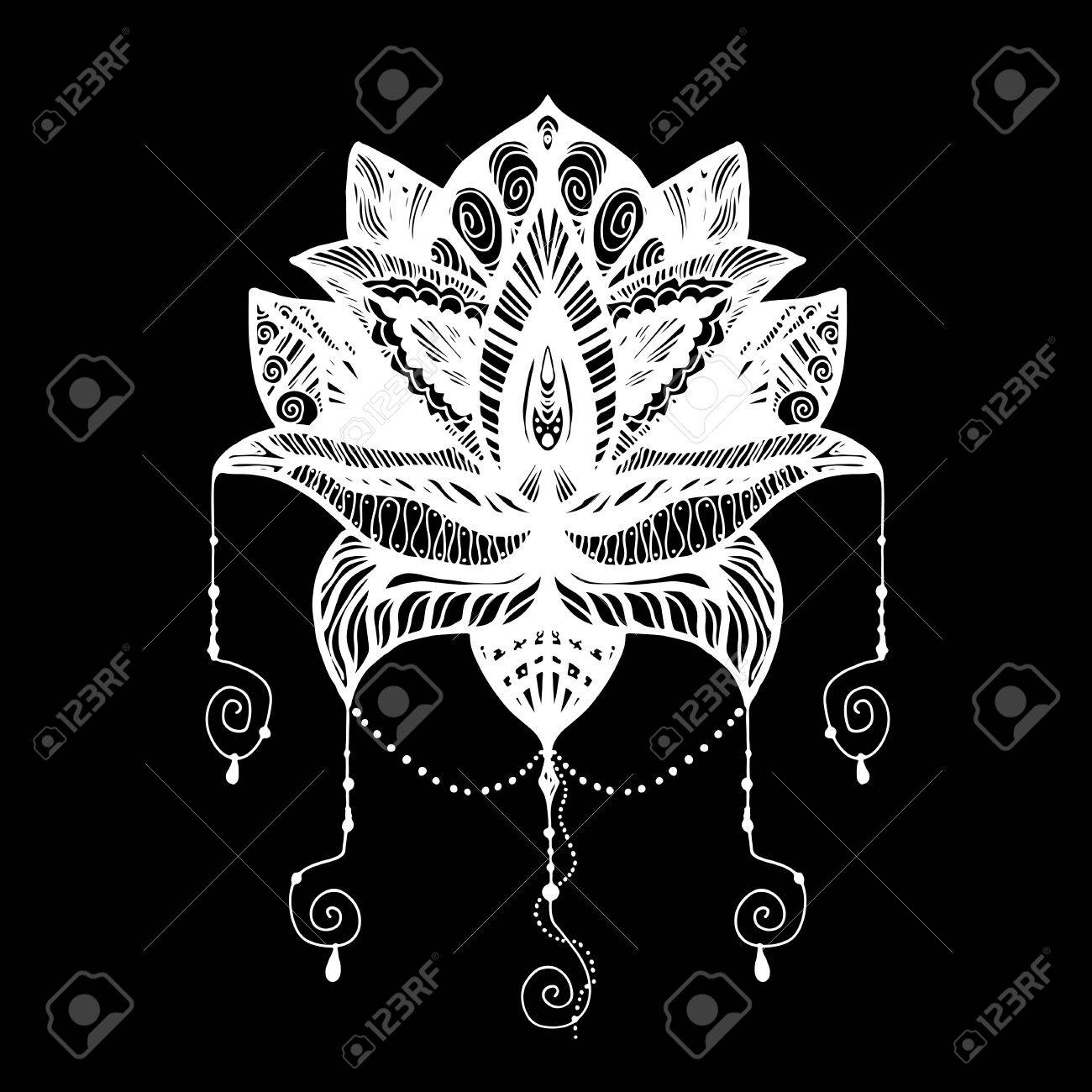 Flower Lotus Magic Symbol For Print Tattoo Coloring Book Fabric Royalty Free Cliparts Vectors And Stock Illustration Image 65552311