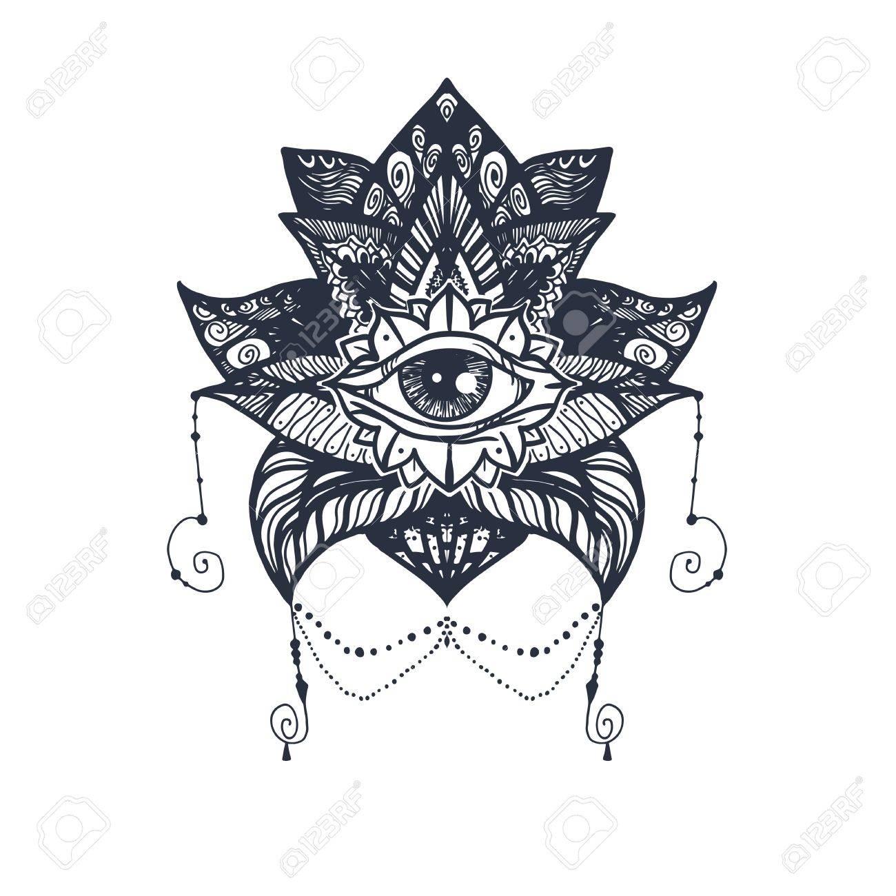 Vintage All Seeing Eye In Mandala Lotus Providence Magic Symbol
