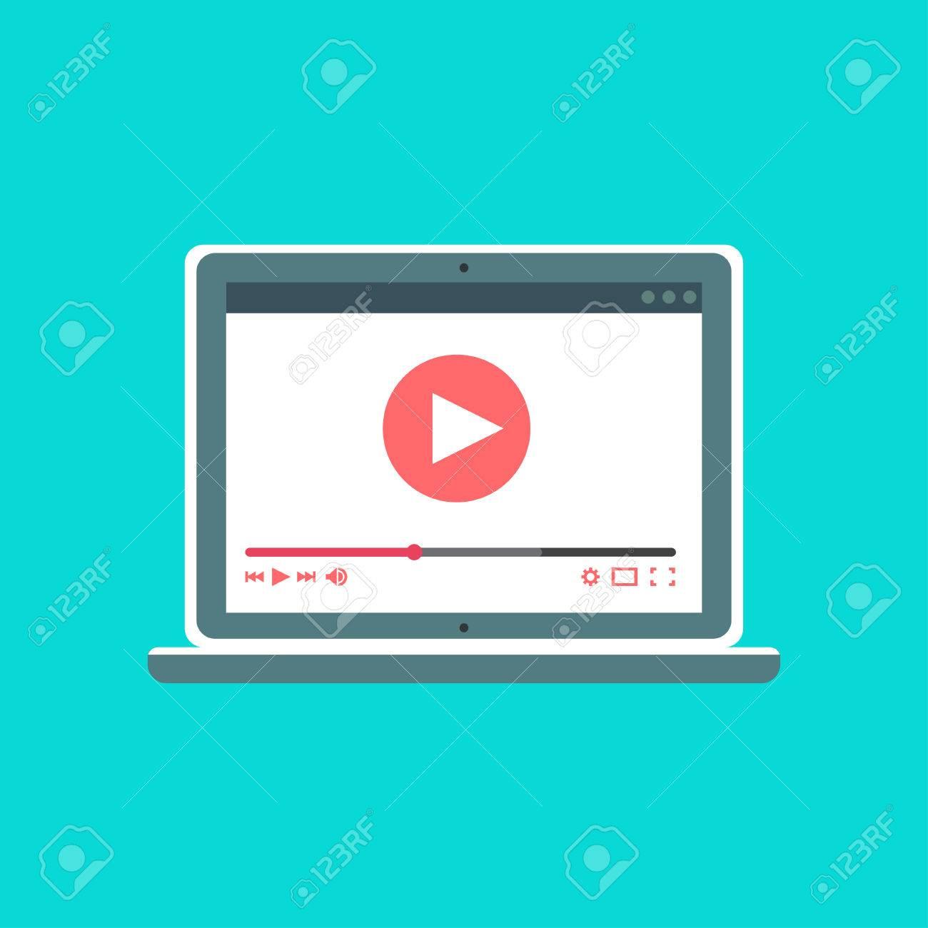 Plantilla Web Y Elementos Para La Forma De Sitio De Ver Video En ...