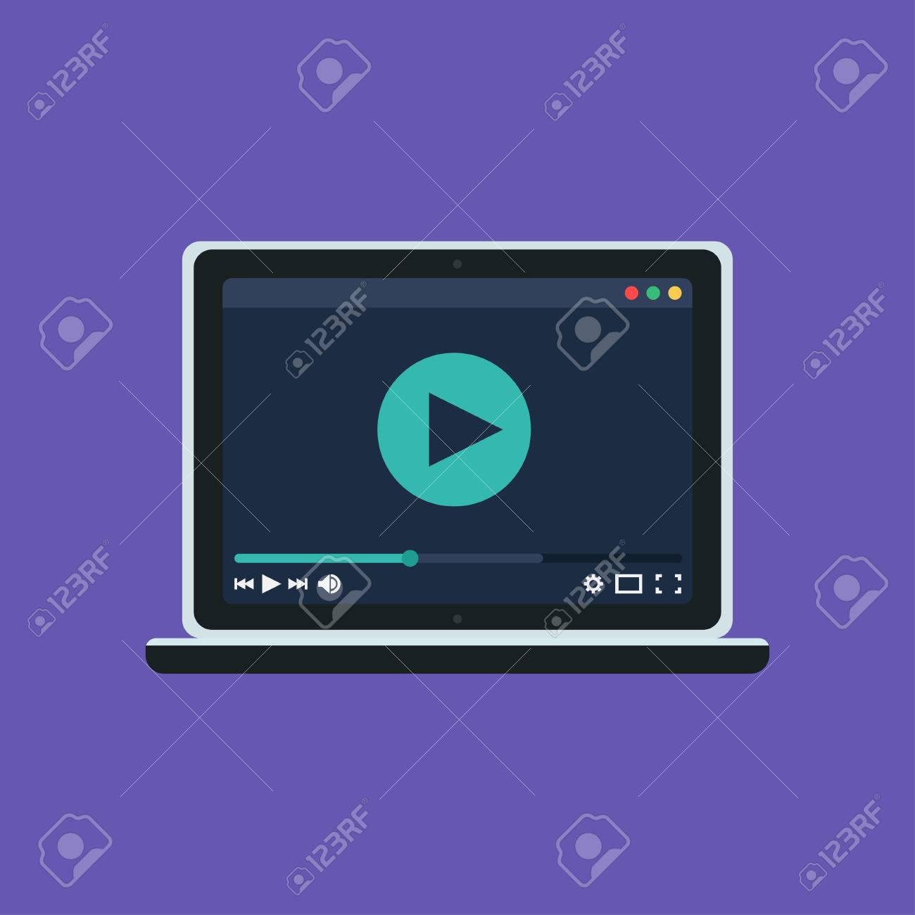 Plantilla Web Y Elementos Para El Sitio De Forma De Ver El Vídeo En ...