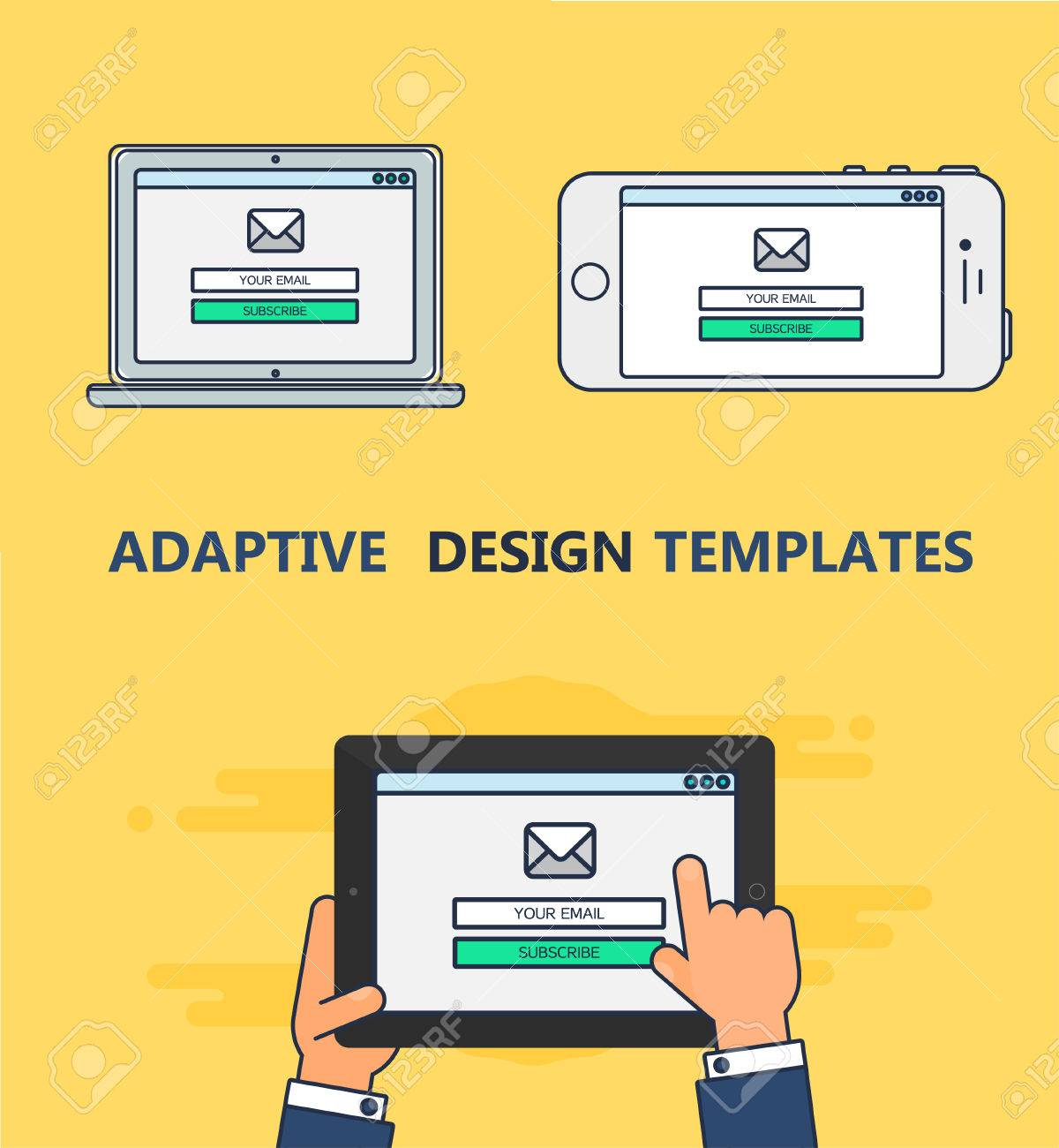 Adaptive Web Template And Gadget Elements For Site Form Of Email