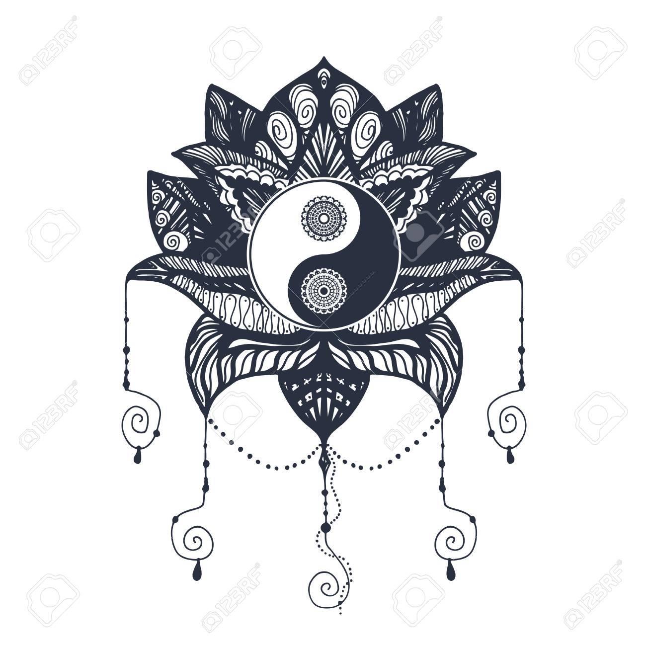 Vintage Yin And Yang In Mandala Lotus Tao Symbol For Print