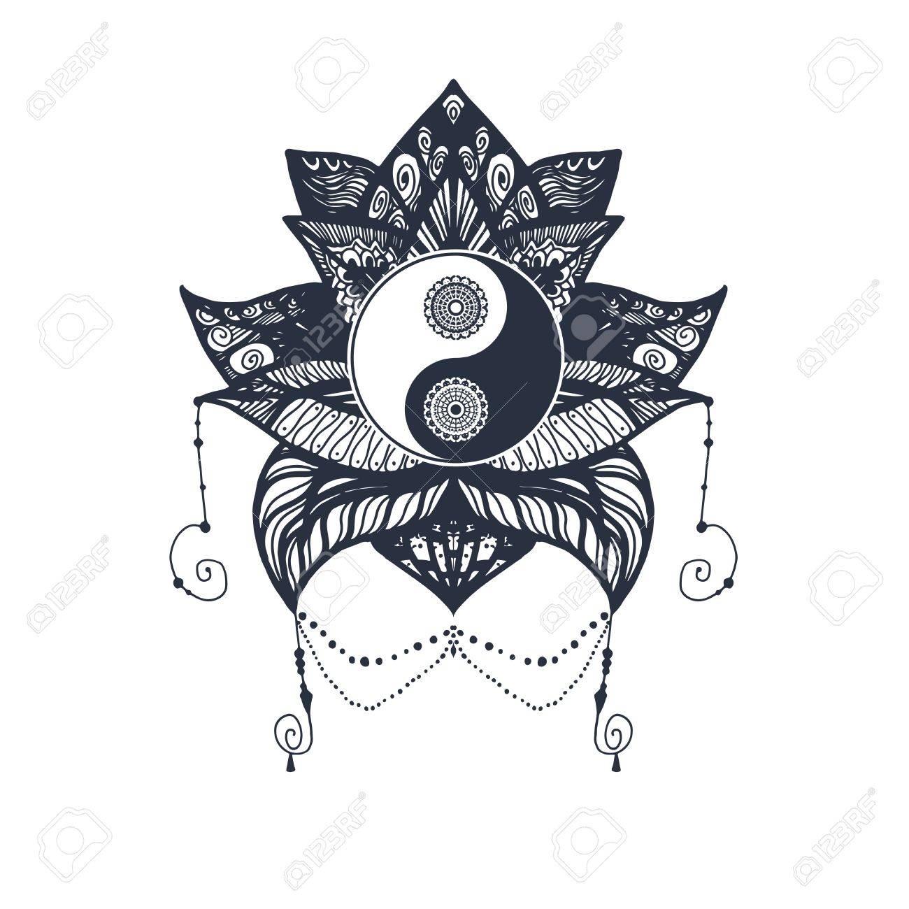 Vintage Yin Y Yang En Mandala Lotus Símbolo De Tao Para Impresión