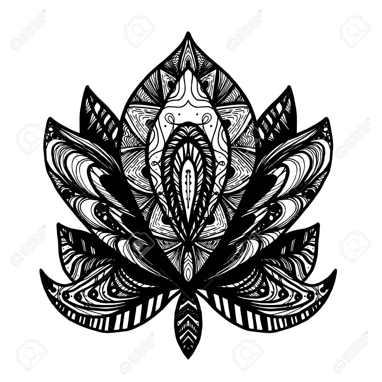 Flower Lotus Magic Symbol For Print Tattoo Coloring Bookfabric