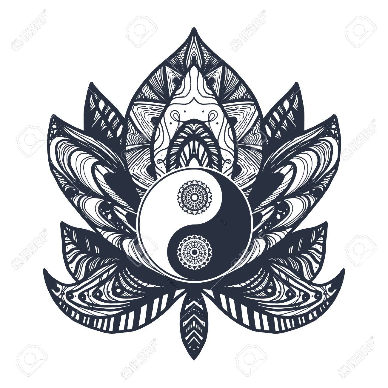 Vintage Yin And Yang In Mandala Lotus. Tao Symbol For Print ...