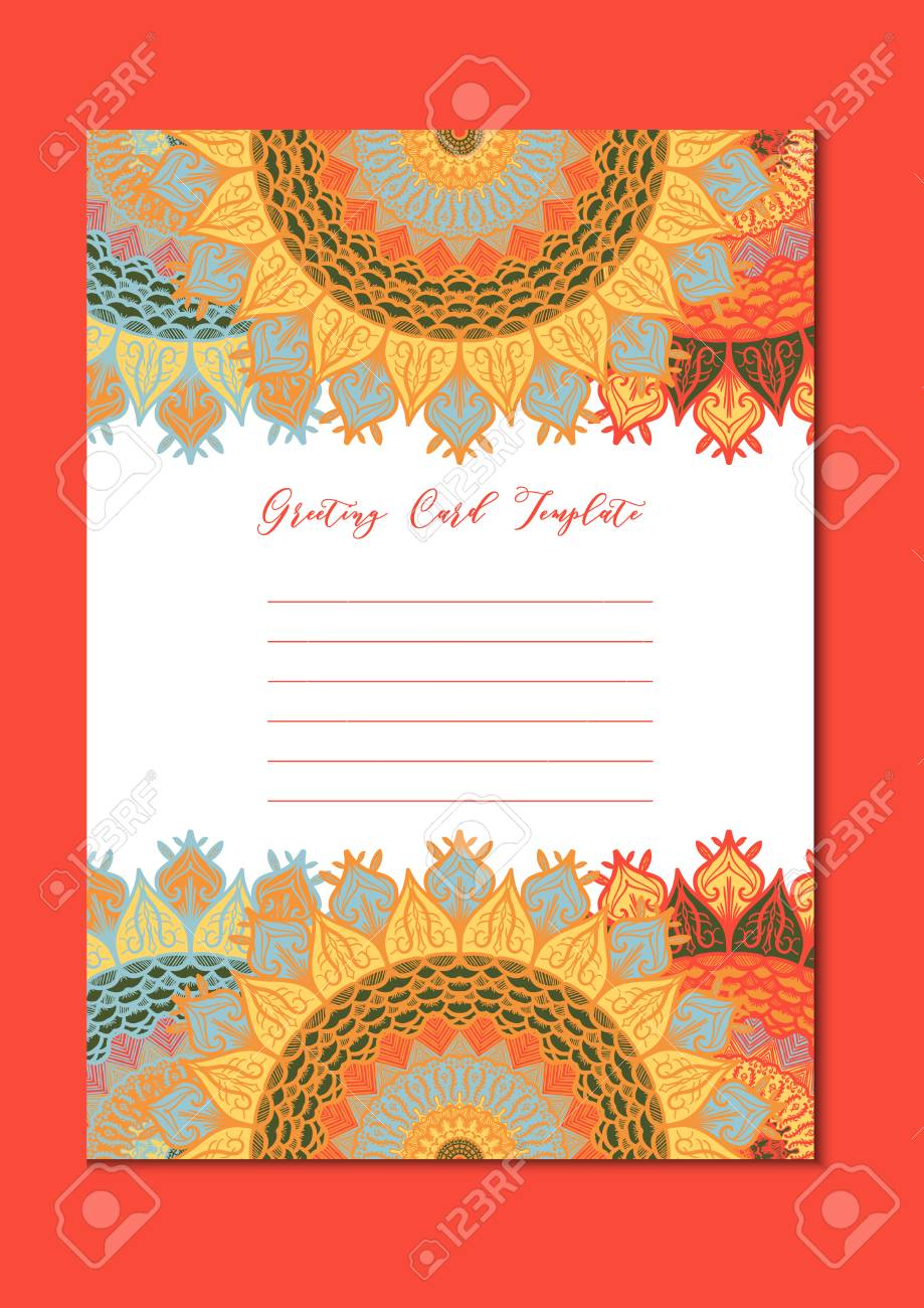 Mandala Vintage Template Card In Arabic And Indian Islam And