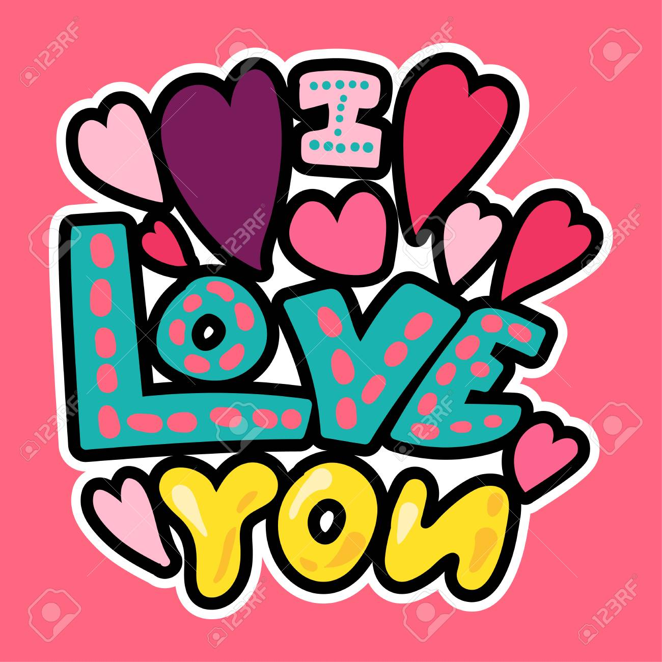 Vector Romantic Love Patch in doodle cartoon style. I love you. Girl fashion patchworks design. Nice cartoon sticker. Fun badge. - 104665297