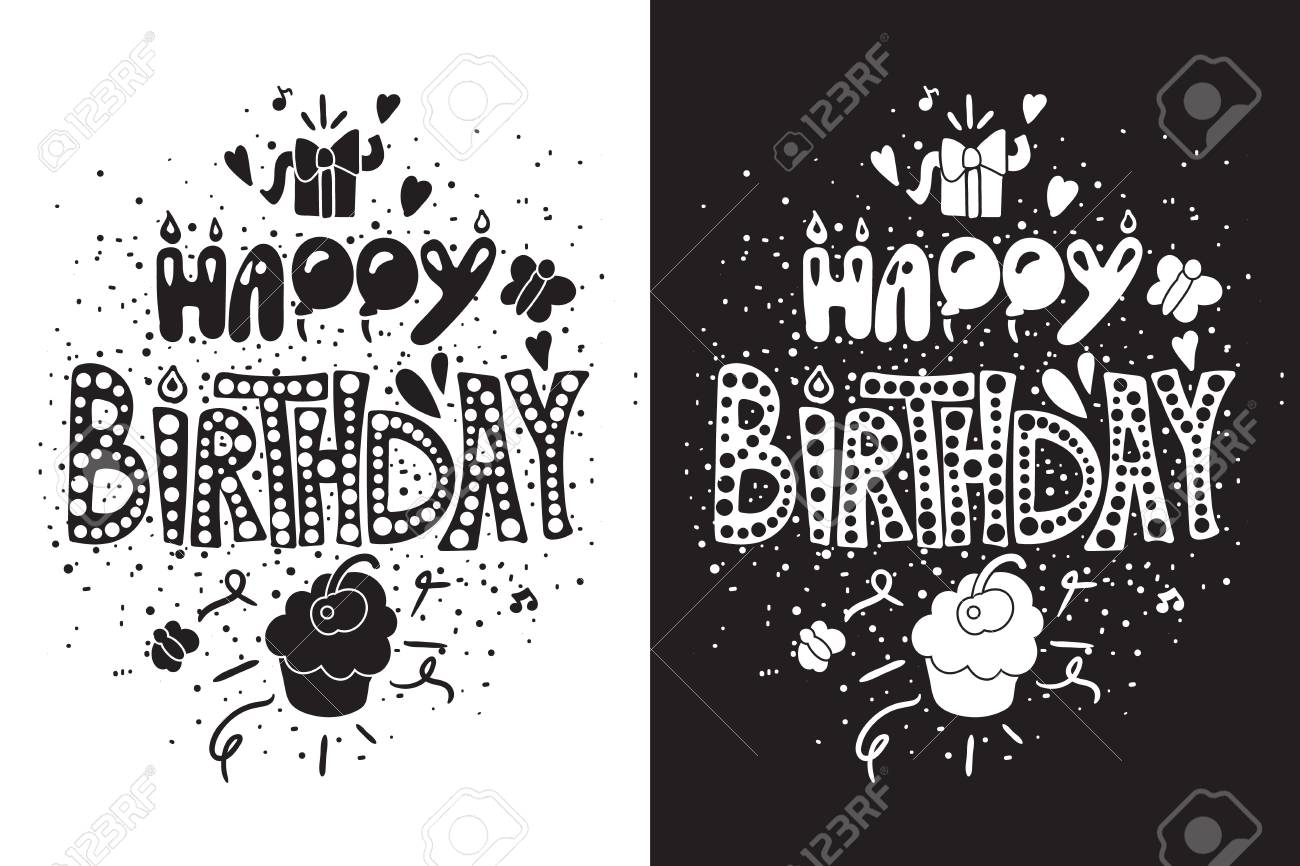 Happy Birthday Greeting Card in black white themes with gift..