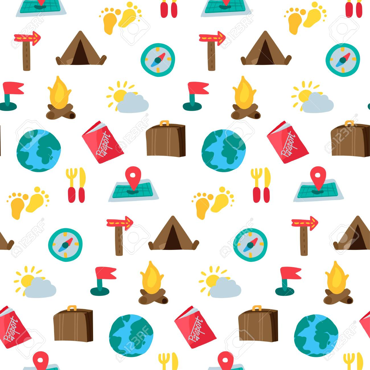 Cartoon travelling and camping seamless pattern. Hipster background. Vector - 122040840