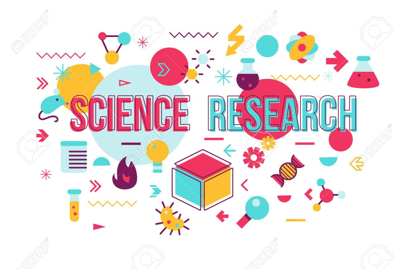Science experiment word concept banner design. Biochemistry research vector illustration with icons - 122041613