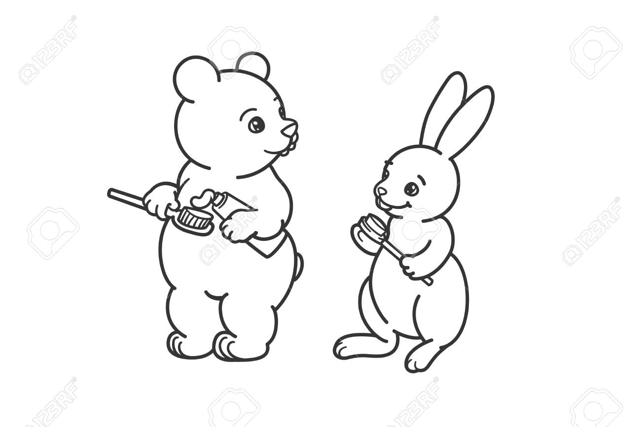 The bear and the hare are brushing their teeth. Coloring, illustration..