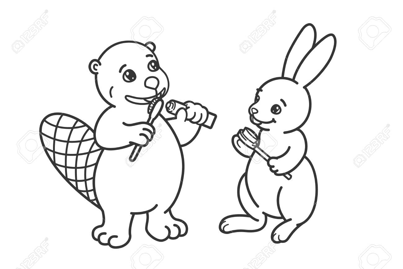 The beaver and the hare are brushing their teeth. Coloring, illustration..