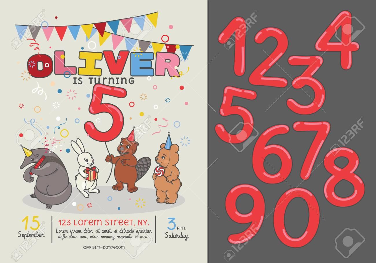 Tarjeta De Invitación Para La Fiesta De Cumpleaños De Los Niños