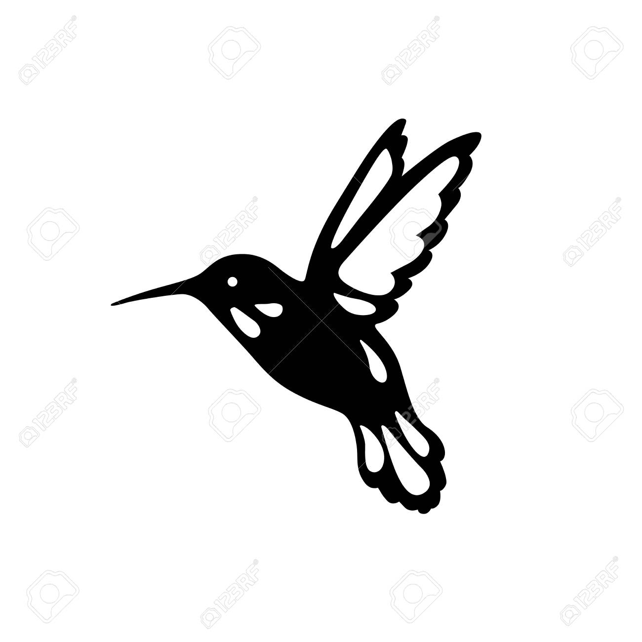 Bird of hummingbirds, outline, black shadow, laser cutting. - 93380959
