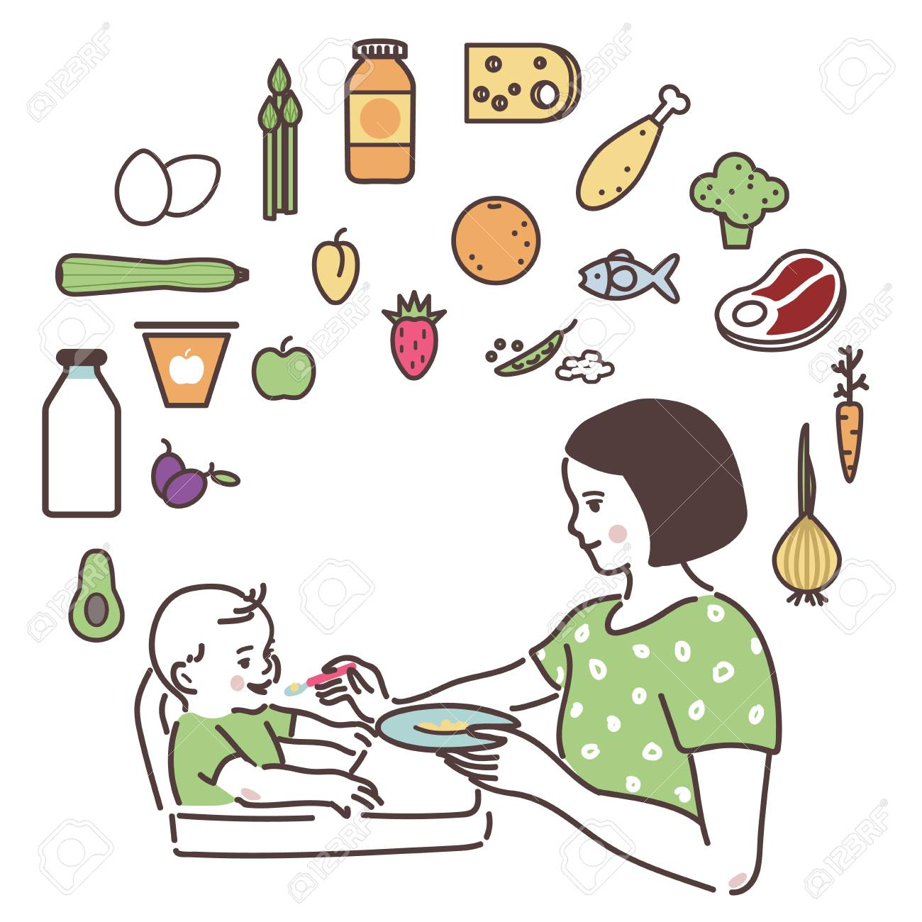 Mom is feeding up the baby with a spoon. - 100564204