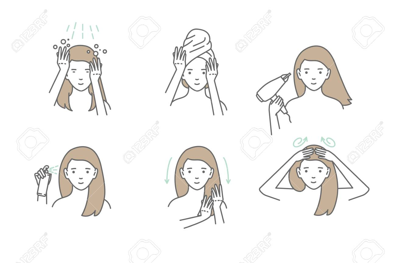 Woman take care about her hair. Steps how to apply hair mask. Vector isolated illustrations set. - 114942057