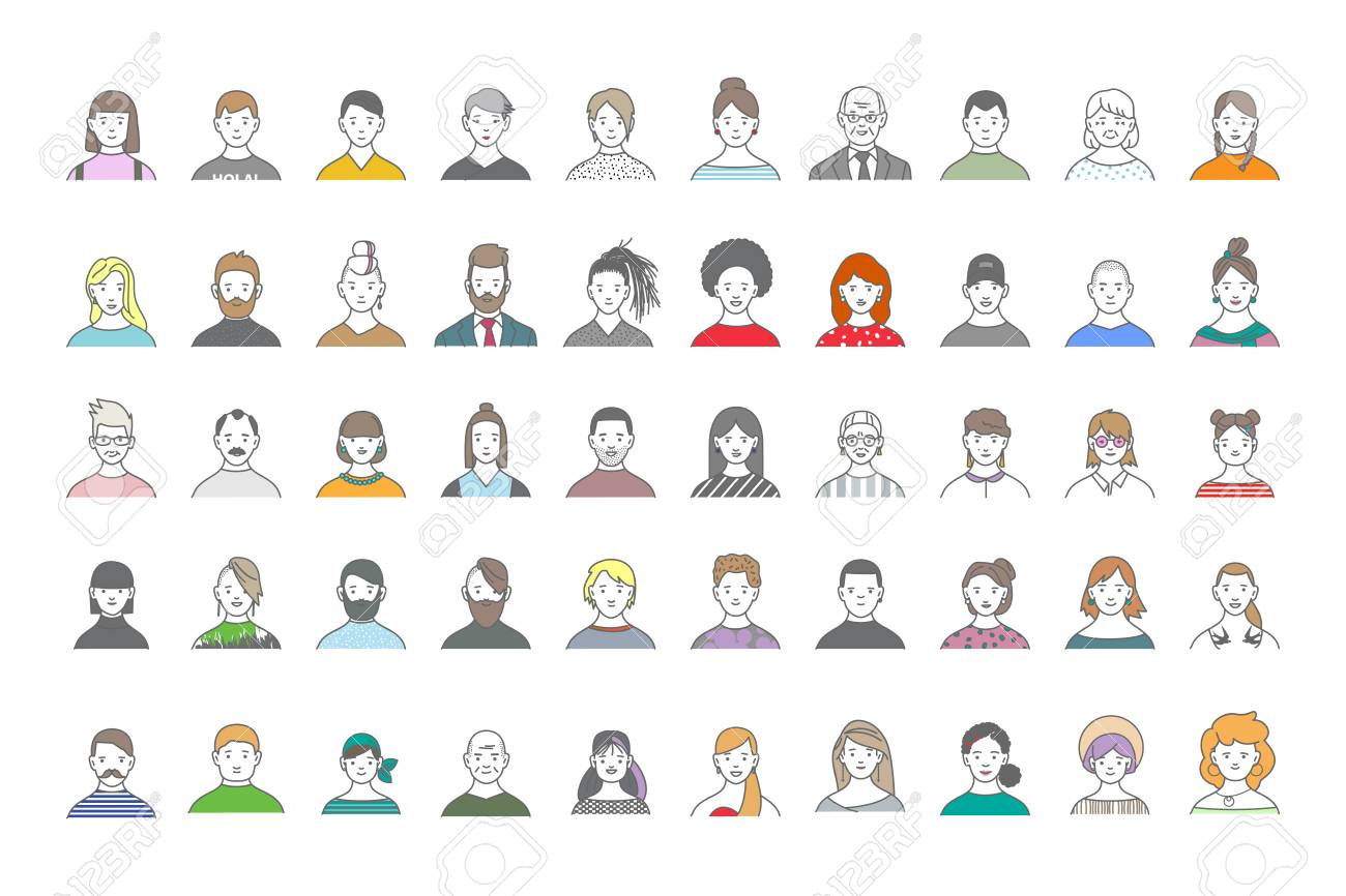 Big set of people avatars for social media, website. Line art portraits fashionable girls and guys. - 104904775