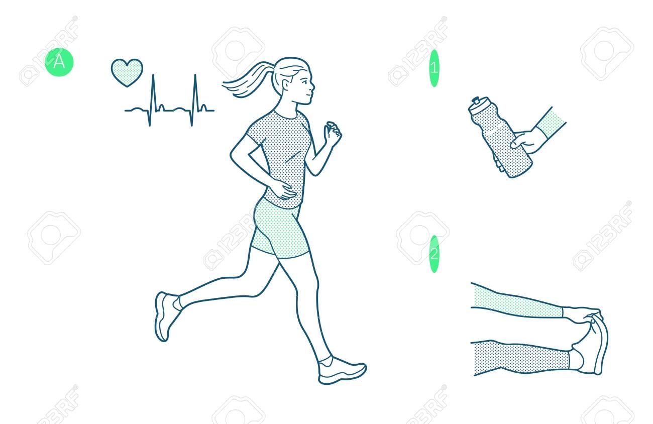 Vector illustration on the theme of running. - 142695194