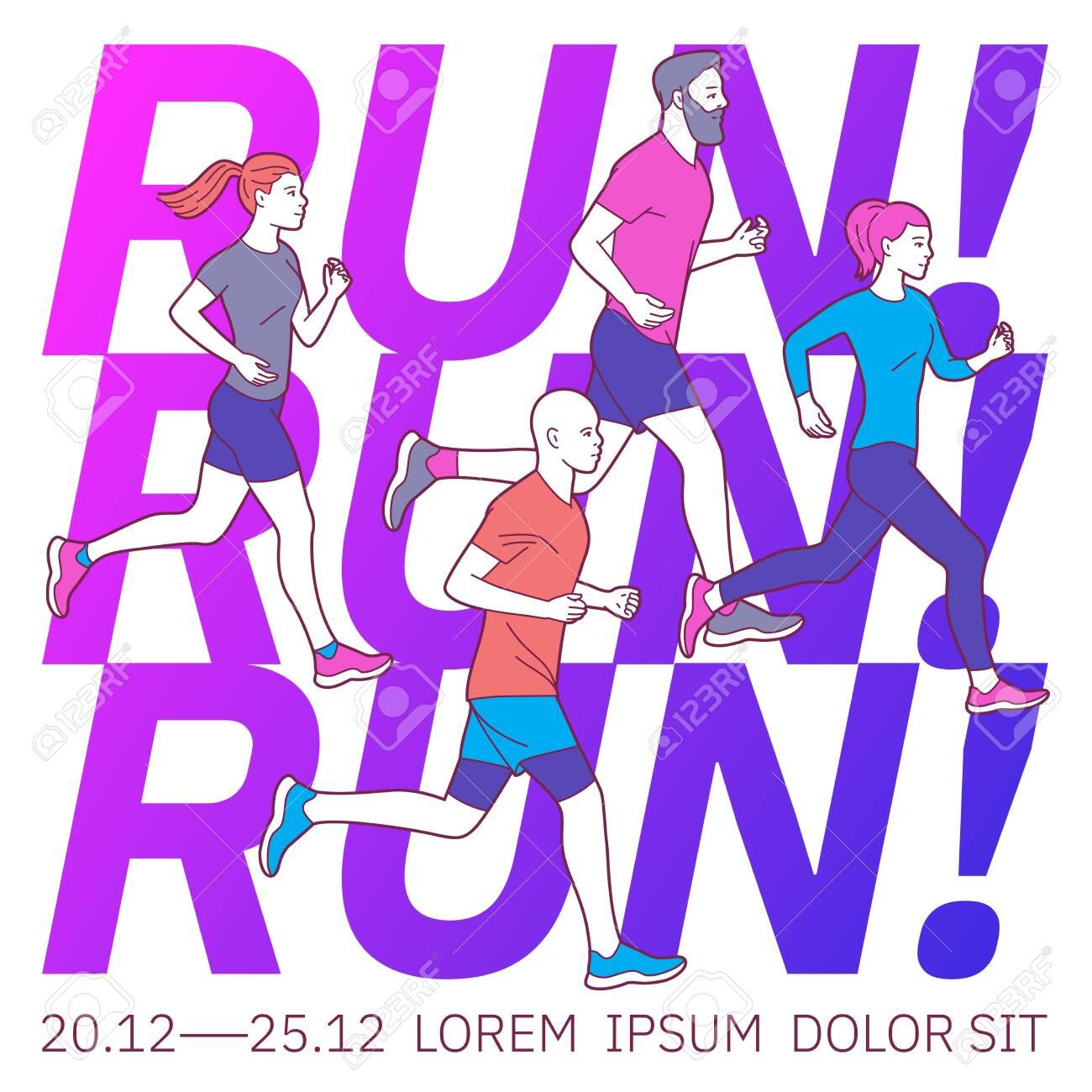 Vector illustration on the theme of running. - 142695198