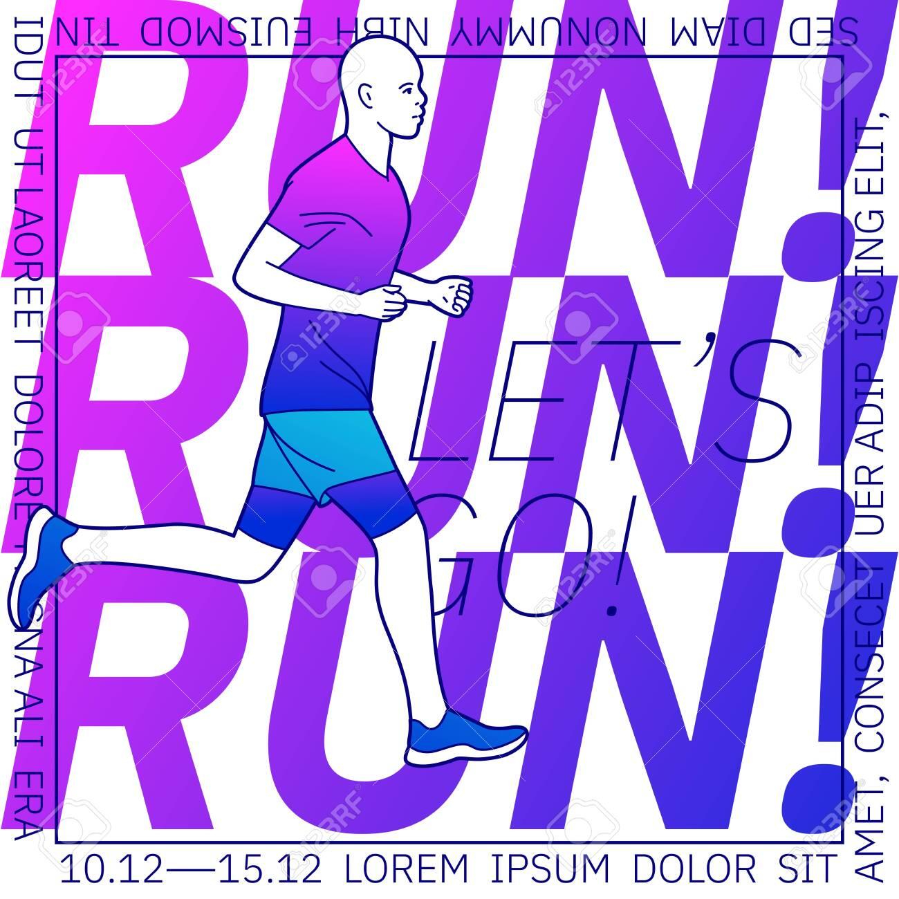 Vector illustration on the theme of running. - 142695197