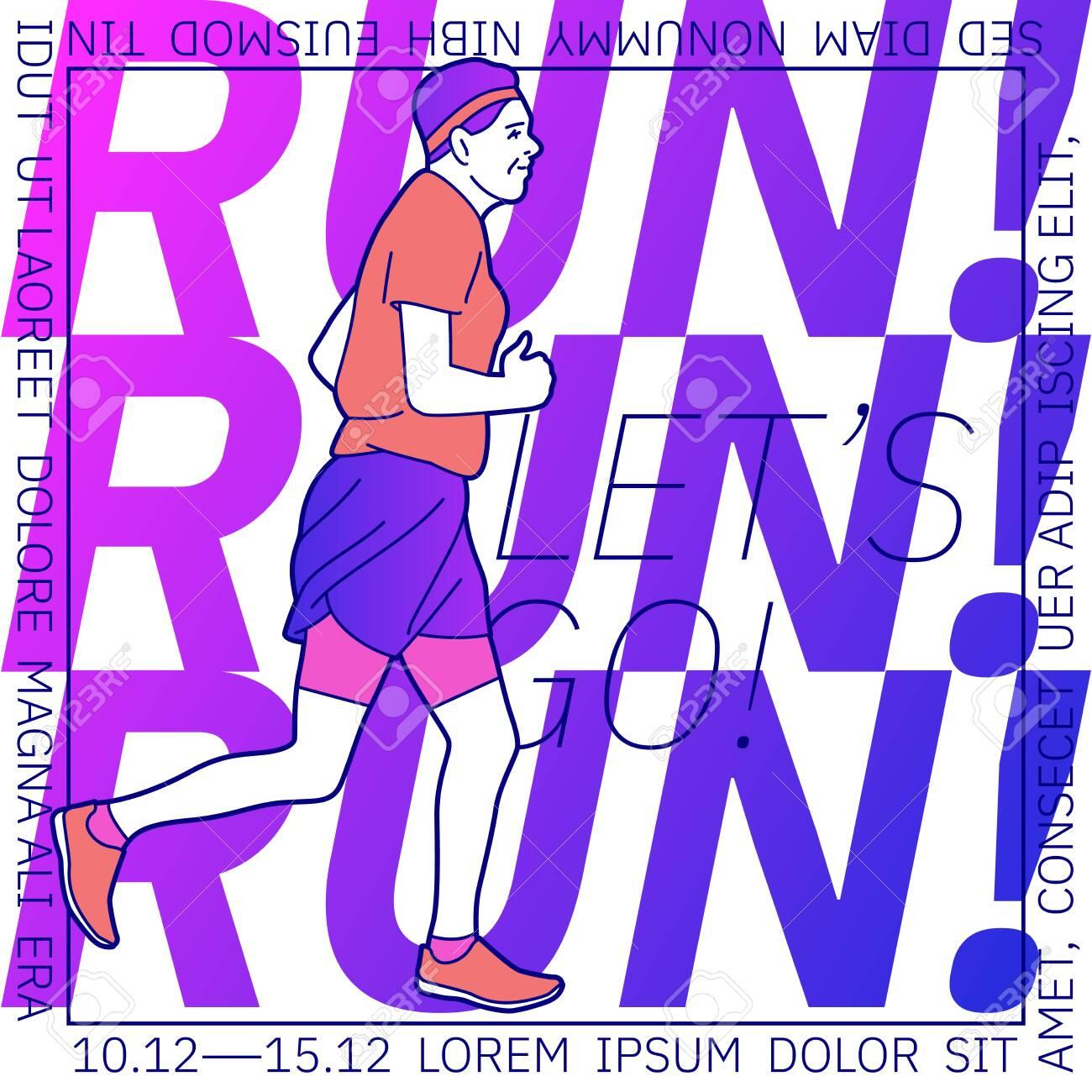 Vector illustration on the theme of running. - 142695200
