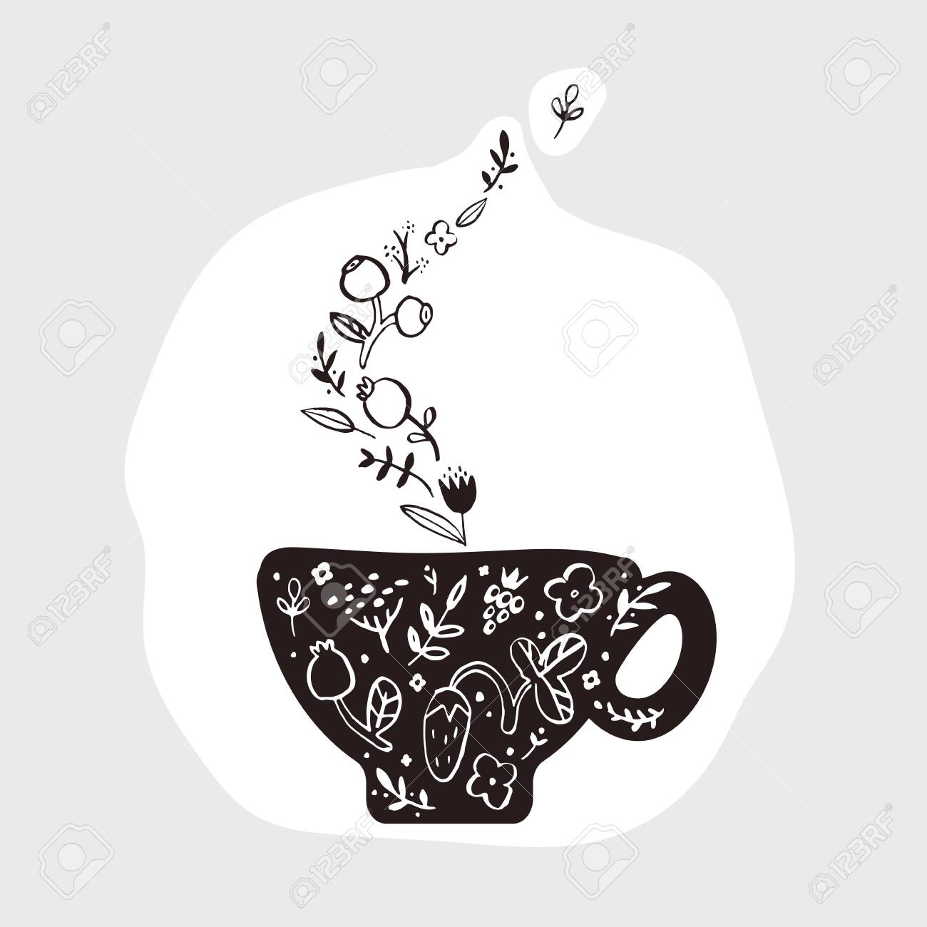 A doodle picture of a cup of herbal fragrant tea. - 142695204