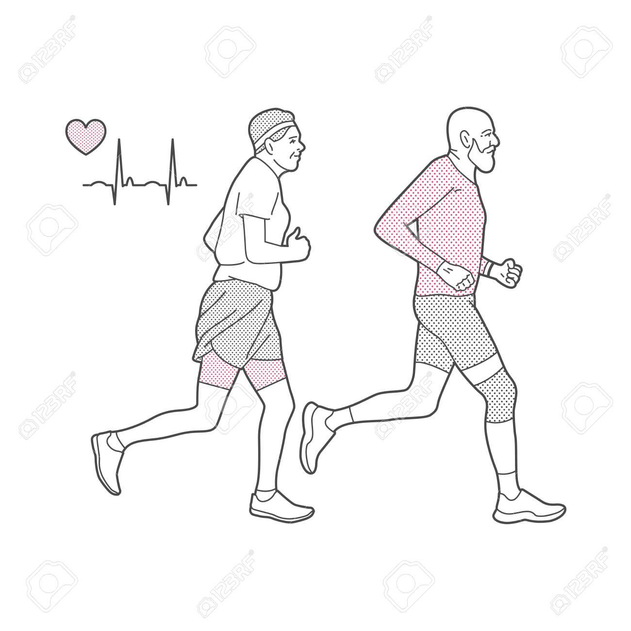 Vector illustration on the theme of running. - 142695203