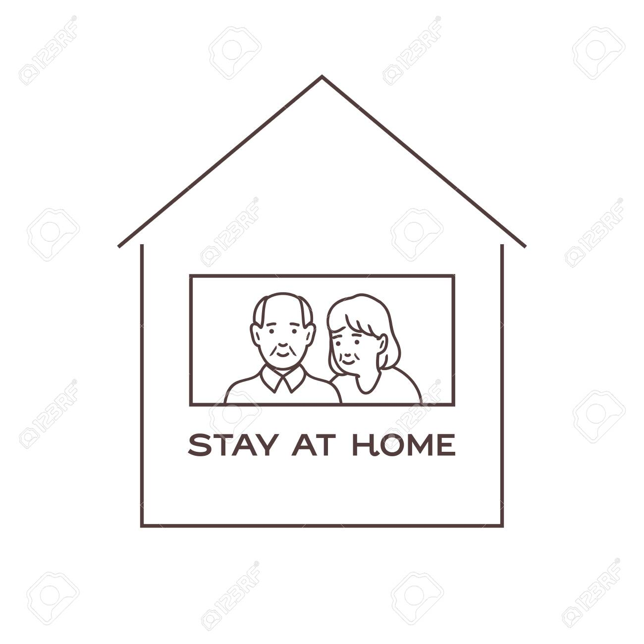 I stay at home awareness, old man and woman smiling and staying together. - 144520261