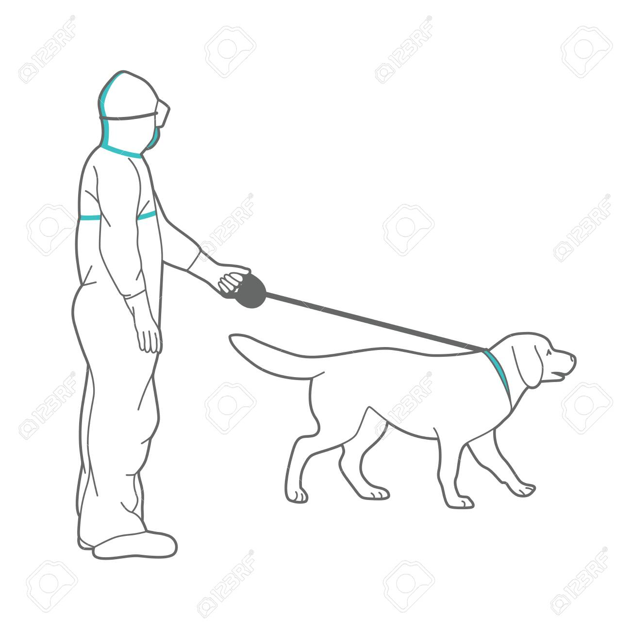 Man in protective suit and respirator is walking a dog. - 146217768