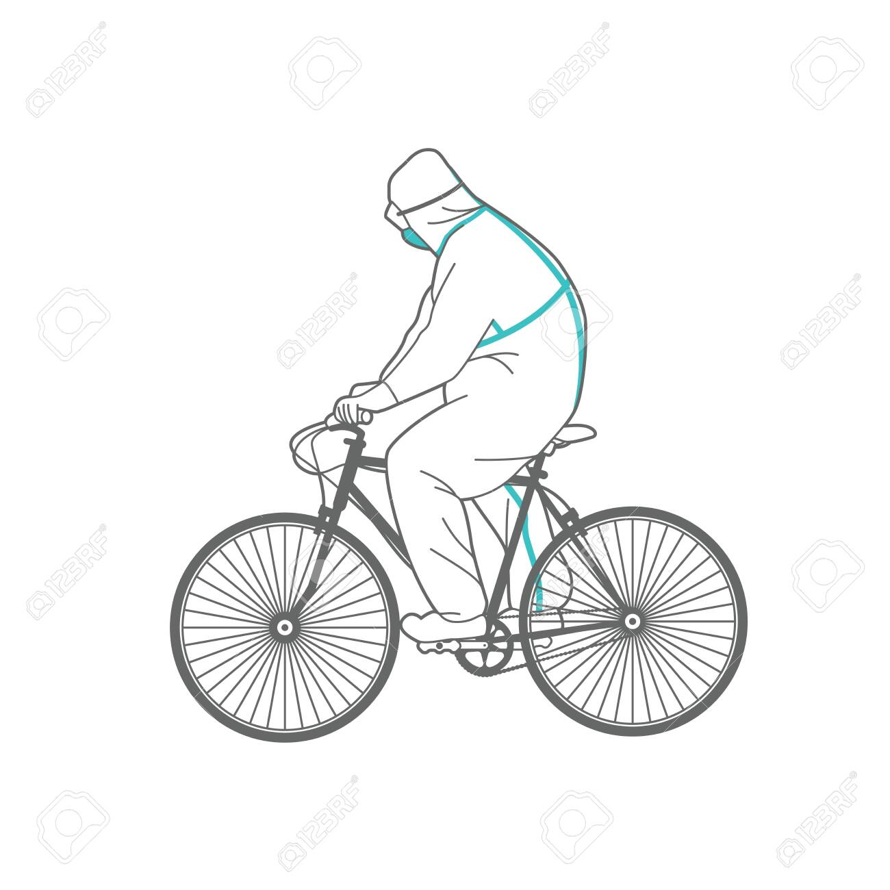 Man in protective clothing on a bicycle. - 146217769